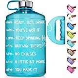 HydroMATE 1 Gallon Motivational Water Bottle with Time Marker Large BPA Free Jug with Handle Reusable Leak Proof Bottle Time Marked to Drink More Water Hydro MATE 128 oz (Gallon, Turquoise)