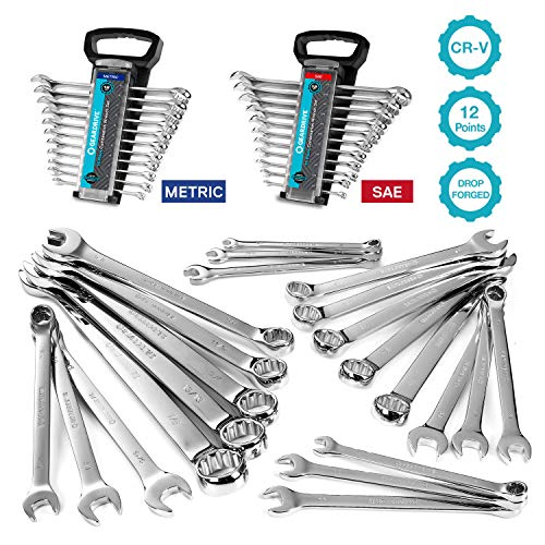 GEARDRIVE Combination Wrench Set, Inch&Metric, 22-piece, 1/4'' to 7/8'' & 8-19mm, Chrome Vanadium Steel, with Plastic Tray