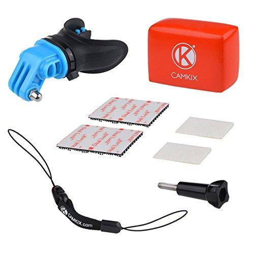 CamKix Surf Kit di Montaggio Bocca Compatible con GoPro Hero 4: Nero, Argento, Hero, Hero +, Hero LCD+, 3+, 3, 2, 1 - Soluzione a Mani Libere per Sport d'Azione Acquatici - Bocchette Ventilate -Laccio per Muta - Galleggiante