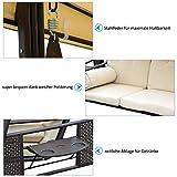 3-Sitzer Hollywoodschaukel Gartenschaukel mit Sonnendach Kissen Metall - 5