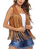 Hippie Vest for Women Loose Fit Rivets Long Tassel Cowgirl Sleeveless Cardigan Light Coffee S