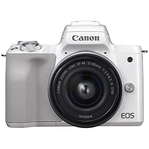 キヤノン EOS Kiss M 【EF-M15-45 IS STM レンズキット】 (ホワイト/ミラーレス一眼カメラ) EOSKISSMWH1545...