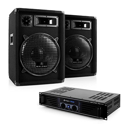 "DJ PA-Komplett-Set Nizza Nights - PA-Sound-System, Dj-Set, Musikanlage, Verstärker max. 480 Watt, 2 x Boxen je 400 Watt, 3-Wege-Box, 25cm (10"") Subwoofer, Kabel-Set, 95dB, 8 Ohm, schwarz"
