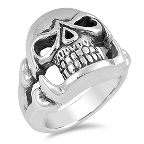 Biker Skull Scary Face Skeleton Ring New .925 Sterling Silver Band (Jewellery)