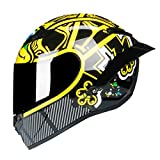Woljay Full Face Motorcycle Helmet Racing Helmet Motocross Off Road Moto Street Bike Helmets (M, Frog Yellow)