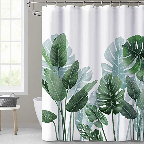 KGORGE Shower Curtains for Bathroom - Tropical Leaves Plant on White...