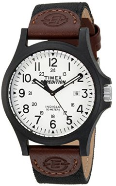 Timex Men's TW4B08200 Expedition Acadia Black/Brown/White Leather/Nylon Strap Watch