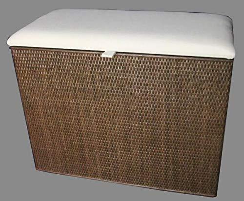 Rattano Wäschekorb 3 Fachsotierer Sitzhocker mit Polster Wäschebehälter Wäschesammler