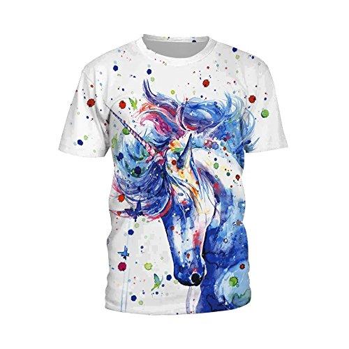 Ecommerce Trade Ltd Mujer UK Tamaño 10-1212-14Unicornio Sirena Escalas Marihuana Universo Galaxia Chaleco Tank Top-Camiseta Multicolor Aquarell Stil Einhorn T-Shirt 36/38