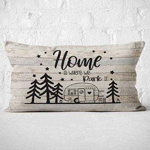 Mancheng-zi Home is Where we Park Throw Pillow Cover, Campers...