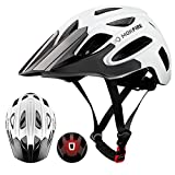 MOKFIRE Mountain Bike Helmet for Adult Men Women with USB Safety Light, Adjustable MTB Cycling Bicycle Helmet CPSC Certified with Detachable Long Visor/Large Vents, 22.44-24 Inches (White)