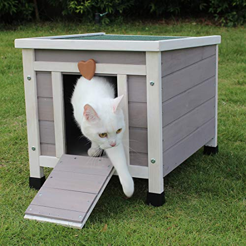 ROCKEVER Small Animal Houses Outdoor, Wooden Rabbit Hutch Elevated with Door, Feral Cat Shelter Grey