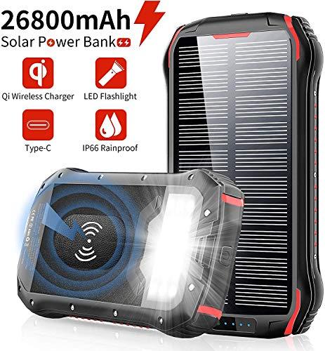 PowerBank Solare 26800mAh Caricabatterie Portatile, Wireless Qi, Batteria Esterna 4 Porte(USB/Qi),...