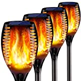 4PCs Solar Torch Lights Outdoor, 43 inch 96 LED, Waterproof Landscape Garden Pathway Light with Vivid Dancing Flickering Flames, with Auto On/Off Dusk to Dawn, for Christmas Lights Decoration