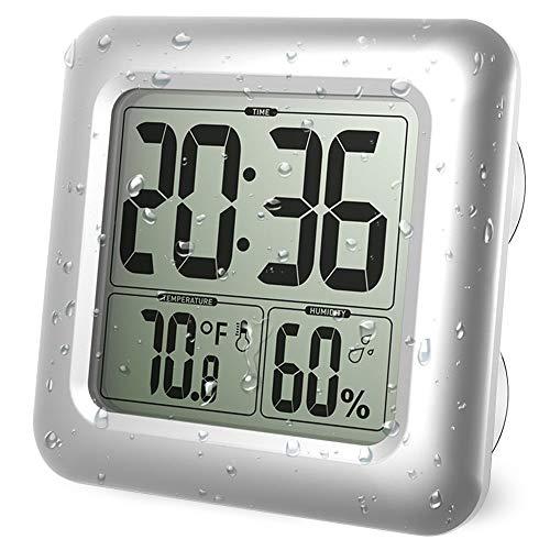 Iadong Digitale Badezimmer Duschuhr, große wasserdichte Wanduhr, Thermometer & Hygrometer Temperatur Feuchtemessgerät mit 4 Saugnäpfen und Halterungen