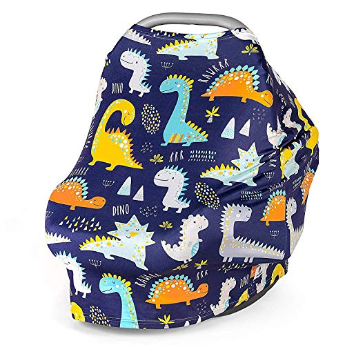 Multi Use Nursing Breastfeeding Cover Scarf, Car Seat Canopy by Busy Monkey, Shopping Cart, High Chair, Stroller and Carseat Covers for Boys and Girls-Infinity Stretchy Shawl, Baby Shower-Dinosaurs