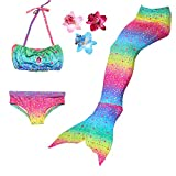 3 Pièces Maillot de Bain Princesse Queue de Sirène Mermaid Bikini(Il y a la Boucle au Bas de la Queue,Pouvez Ouvrir pour Marcher ou Fermer pour Ajouter Monopalme) (140(8-9 Ans), Arc en Ciel)