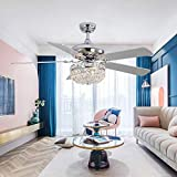 Tropwellhouse 52Inch Crystal Chrome Ceiling Fan with Light Gorgeous Crystal Fixture 3 Lights 5 Premium Wood Blade Led Chandelier Decoration Home/Living Room with Remote
