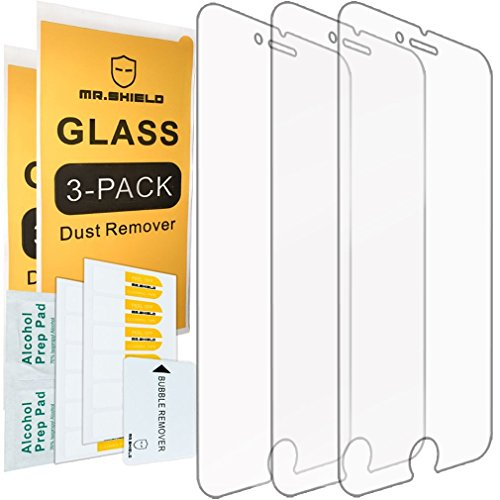 [3-Pack] - Mr.Shield for iPhone8Plus [Tempered Glass] Screen Protector [0.3mm Ultra Thin 9H Hardness 2.5D Round Edge] with Lifetime Replacement
