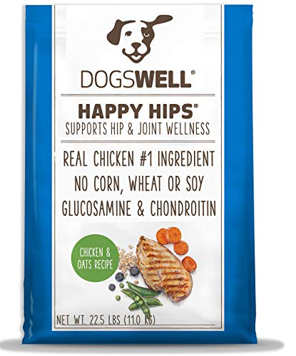 DOGSWELL Happy Hips Dry Dog Food with Glucosamine & Chondroitin, Chicken and Oats Recipe, 22.5 lbs