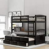 Merax Twin Over Twin Bunk Bed with Trundle and Storage Drawers, Solid Wood Bunk Beds for Kids (Espresso)