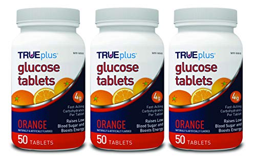 TRUEplus® Glucose Tablets, Orange Flavor - 50ct Bottle - 3 Pack