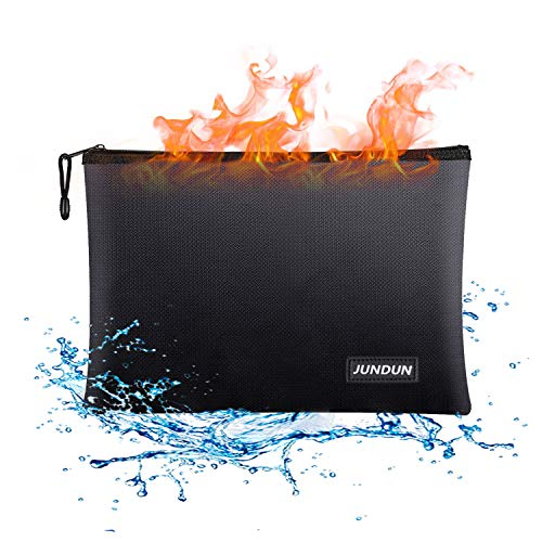 JUNDUN Fireproof Document Bags,13.4x 9.4Waterproof and Fireproof Money Bag,Fireproof Safe Storage Pouch with Zipper for A4 Document Holder,File,Cash and Tablet