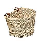 MEIEM Front Handlebar Wicker Bike Basket Cargo Leather Straps (Natural)