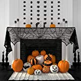 Boao Halloween Lace Spider Web Fireplace Scarf Mantel Cover 18 x 96 Inches and 6 Pieces Spider Hanging Decorations Halloween Home Decorations