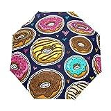 Paraguas de Viaje pequeño a Prueba de Viento al Aire Libre Lluvia Sol UV Auto Compacto 3 Pliegues Cubierta de Paraguas - Donuts Seamless Pattern Vector Pink