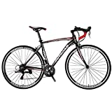 Max4out Road Bike for Men and Women, Featuring 21 Speed Drivetrain, 700C Wheel and Y Brake Suspension Fork Rear Suspension Bicycles Black