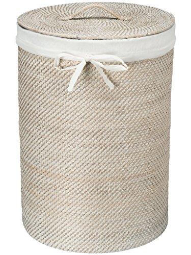 KOUBOO 1030040 Round Rattan White Wash Hamper with Liner, 17' x 17' x 24'