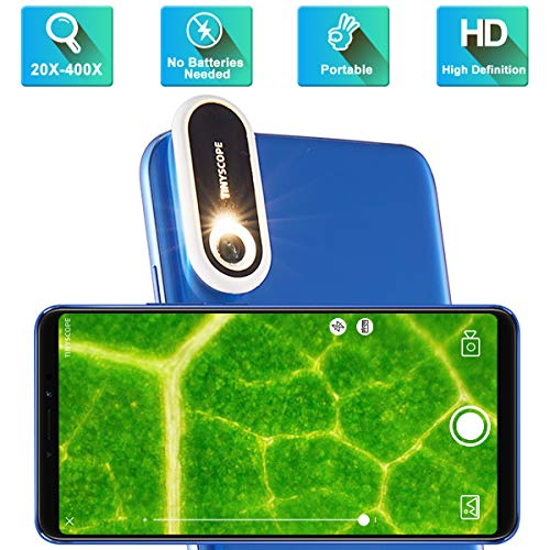 TINYSCOPE Mobile Microscope, 20 to 400x Magnification, Turn Your Cell Phone into a Portable Microscope in Seconds, with No Need for Batteries, Power Cords, or USB Cables, Safer Microscope for Kids!
