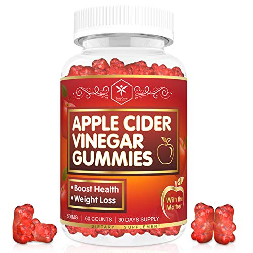 Apple Cider Vinegar Gummies with Mother for Weight, Detox & Cleanse, Organic ACV Gummies Bears for Women & Adults, Chewable Apple Cider Vinegar Supplements for Immune Support - 60 Counts