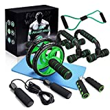 gracosy Sports Ab Roller Wheel, 6-in-1 Ab Roller Kit with Yoga Mat Resistance Bands Pad Push Up Bars Handles Grips Home Workout Equipment Core and Abdominal Trainers