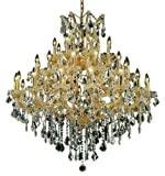 Elegant Lighting 2800G44G/RC Maria Theresa 44-Inch High 37-Light Chandelier, Gold Finish with Crystal (Clear) Royal Cut RC Crystal