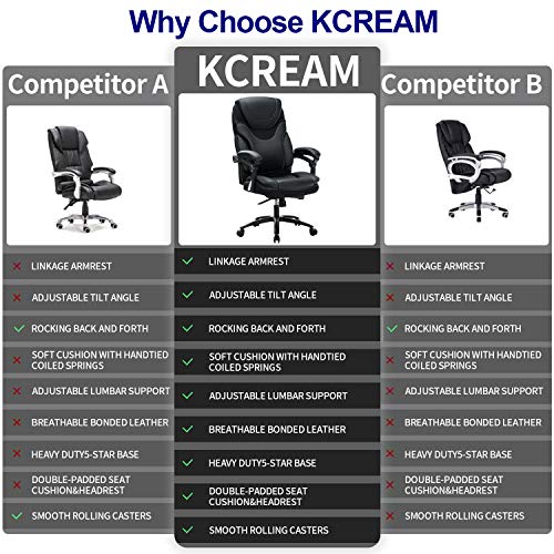 Product Image 7: KCREAM Office Chair,Adjustable Computer Chair PU Leather Swivel Task Chair Flip-up Armrests Ergonomic Desk Chair with Thick Padded Lumbar Support (9109-balck)
