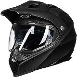 ILM Off Road Motorcycle Dual Sport Helmet Full Face Sun Visor Dirt Bike ATV Motocross DOT Approved (XXL, Matte Black)
