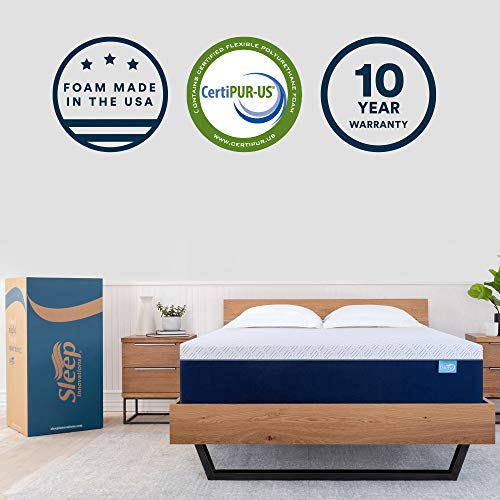 Sleep Innovations Shiloh 14-inch Memory Foam Mattress Bed in a Box, Made in The USA, 10-Year Warranty, Full, White
