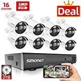 【5MP 16 Channel】16 Channel Security Camera Systems, SMONET 5-in-1 DVR Video Surveillance System (2TB HDD), 8pcs Wired 5MP(2560TVL) Outdoor Waterproof Surveillance Cameras with Night Vision Remote View
