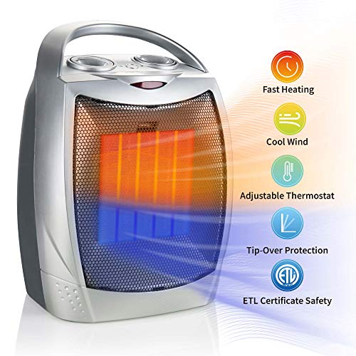 Brightown Portable Ceramic Heater 1500W/750W, ETL Certified Energy Efficient Small Electric Space Heater with Adjustable Thermostat, Heat Up 200 sq. Ft for Office Desk Floor Room Indoor Use