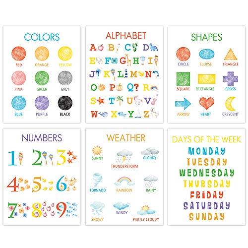 """Colorful Kid Educational Art Print, Cute Numbers, Alphabet, Weather Wall Art Poster, Set Of 6(8""""X10"""",..."""