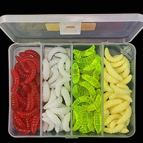 OriGlam - Esca da pesca in acqua dolce, in plastica morbida, vermi da pesca, esche morbide, esche da pesca in plastica