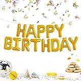 JZK Lettres d'or Happy Birthday Ballons en Aluminium, Joyeux Anniversaire...