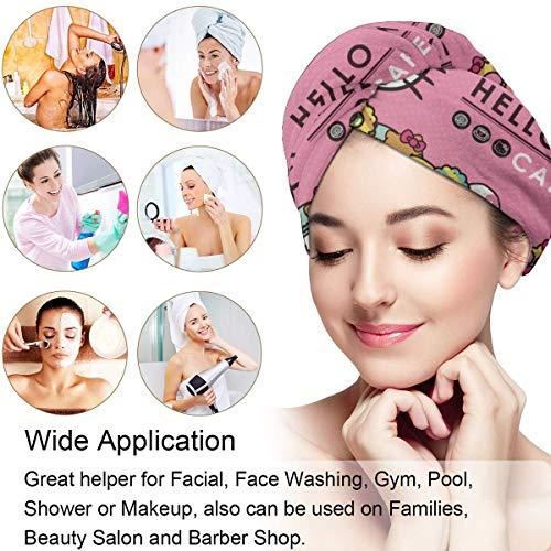 Hair Towel Wrap Turban Hello Kitty Cafe Microfiber Drying Bath Shower Head Towel With Button, Dry Hair Hat