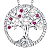 GinoMay Mothers Day Birthday Gifts Mum Jewellery Tree of Life Necklace Garnet White Pearl Necklace June Birthstones Jewellery Her Sterling Silver
