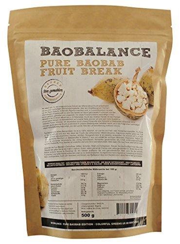 Baobalance Pure Baobab Premium Fruchtpulver für Smoothies & Shakes Wildwuchs-Qualität, 500 g
