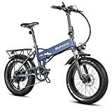 eAhora X5 N 750W Extreme Power Version 20' Fat Tires Folding Electric Bike 48V 10.4Ah Battery Ebike for Adults & RV Power Regeneration System with 7 Speed Shimano Derailleur Fenders & Rack