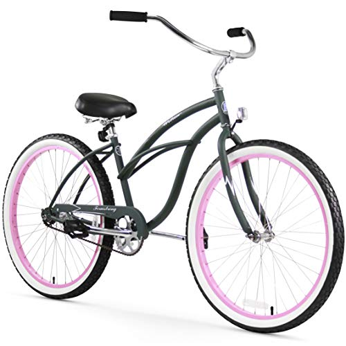 Firmstrong Urban Lady Single Speed Beach Cruiser Bicycle, 26-Inch, Army Green w/Pink Rims