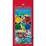 Faber-Castell 125012 Pastilles de gouache boite 12 couleurs + 1 pinceau